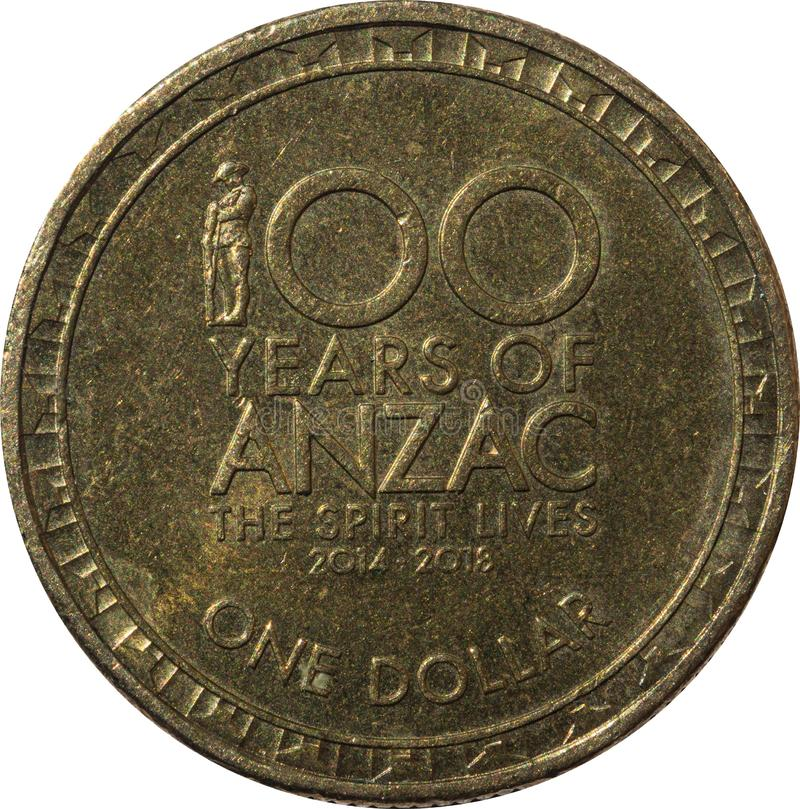 One dollar Australian copper coin 100 years of ANZAC the spirit lives year 2014 - 2018. stock image