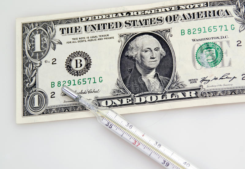 Download One Dollar Banknote And Thermometer Stock Photo - Image of coin, commerce: 26936166
