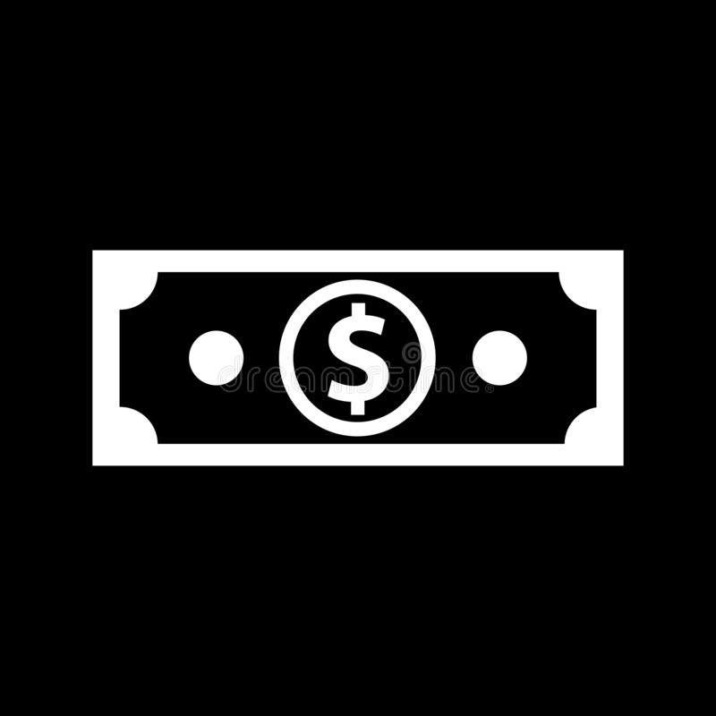 One dollar banknote for web icons and symbols on a black background. And flat royalty free illustration