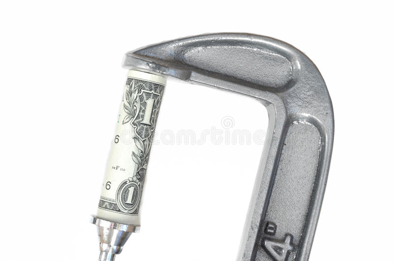 One Dollar Bill in a C Clamp