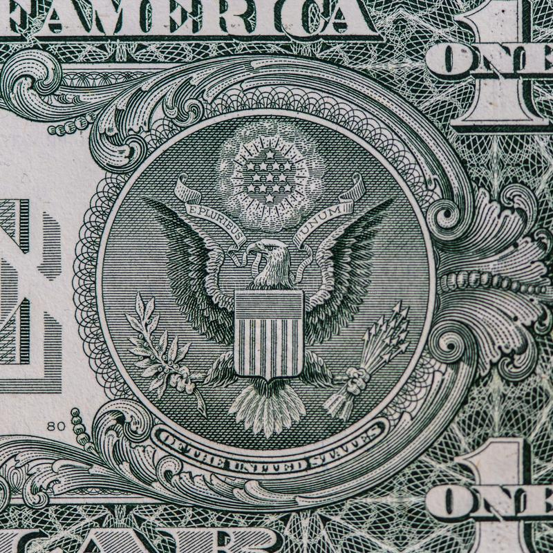 One Dollar bill closeup view stock photography