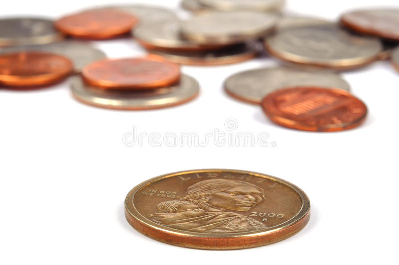 One dollar. Bill and coins, close up royalty free stock photo