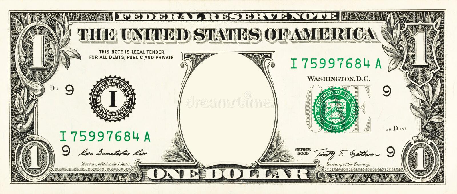 One dollar bill. With copy space instead of Washington