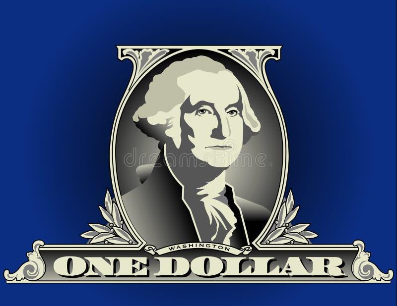 One dollar bill detail vector illustration
