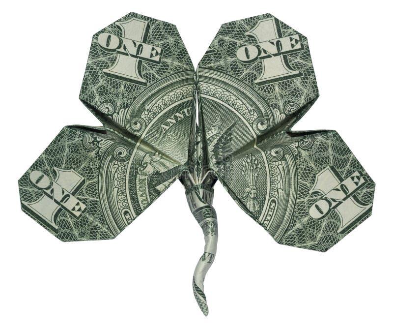 One dollar bill clover stock photo
