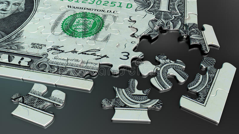 One dollar bill jigsaw puzzle vector illustration