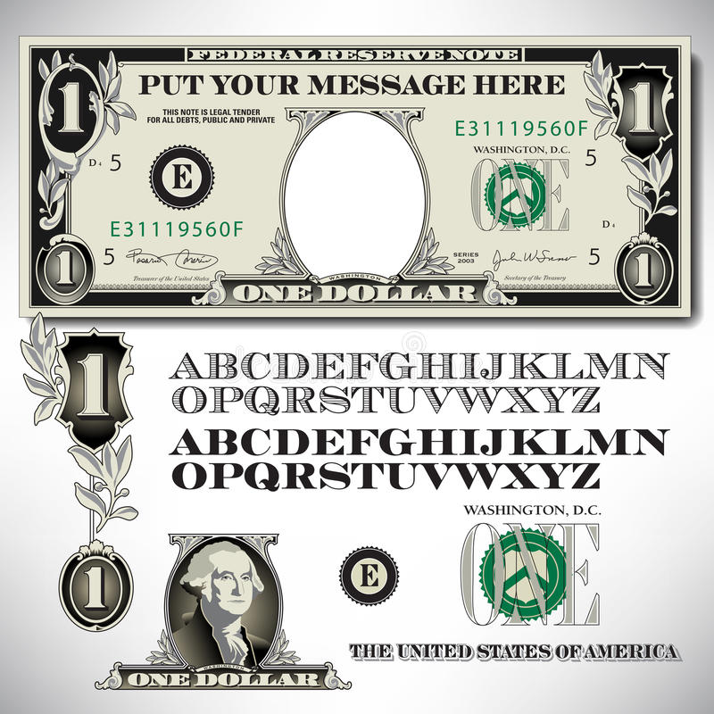 One dollar bill parts with an alphabet. To make your own message royalty free illustration