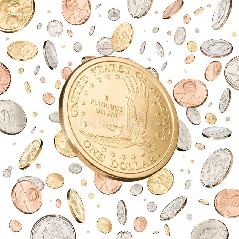 Download One Dollar Coin falling stock image. Image of fifty, background - 10735745