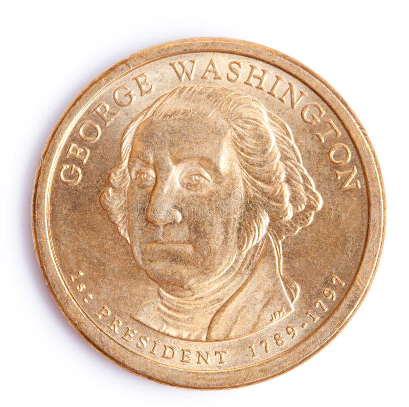 One dollar coin with george washington royalty free stock image