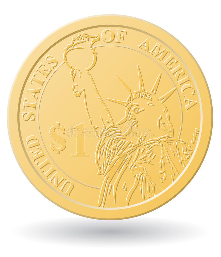 One dollar coin vector illustration