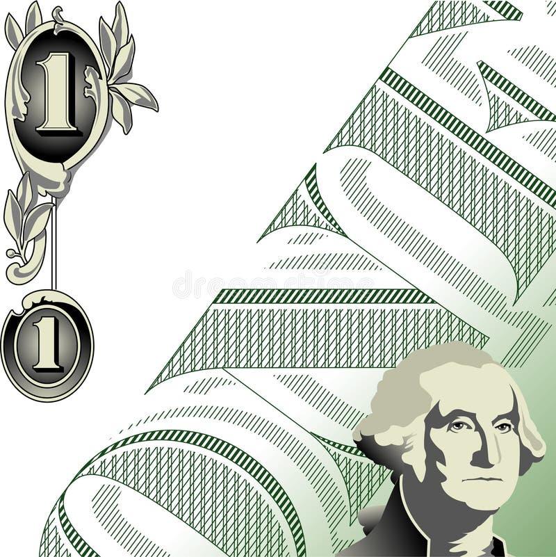 One dollar illustration. Abstract illustration of American one dollar bill, available in vector format stock illustration