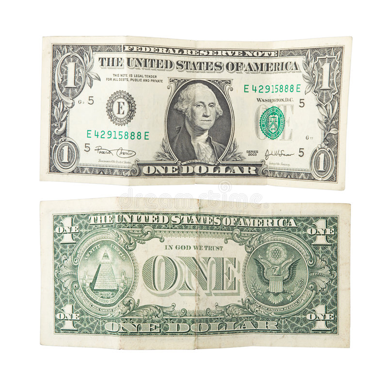 One dollar isolated royalty free stock photo