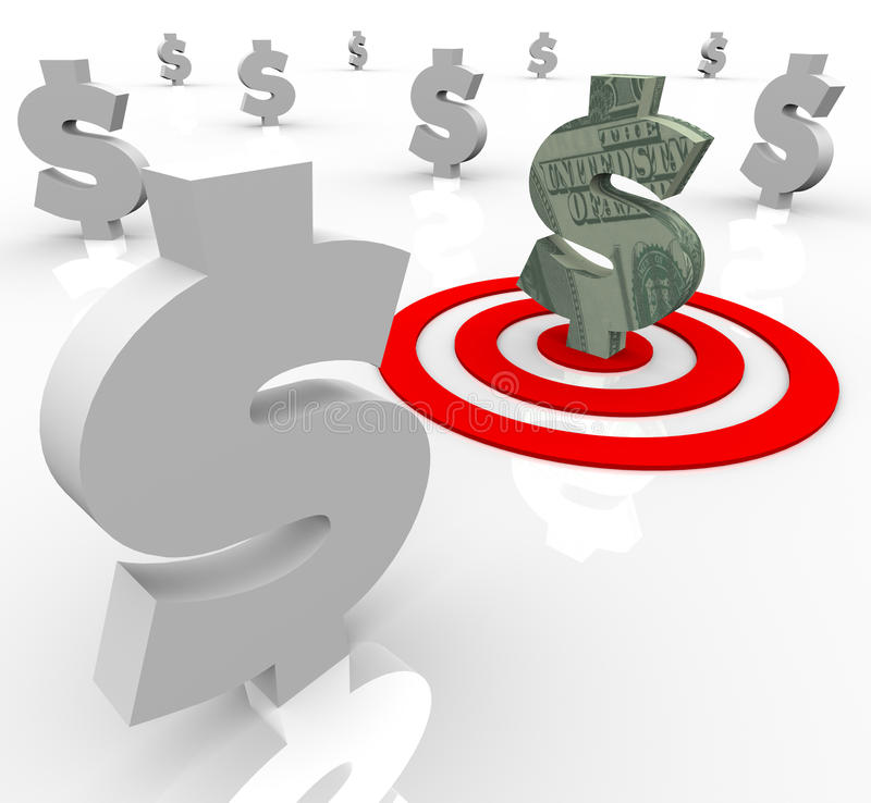 One Dollar Sign Targeted Financial Banking Royalty Free Stock Photo