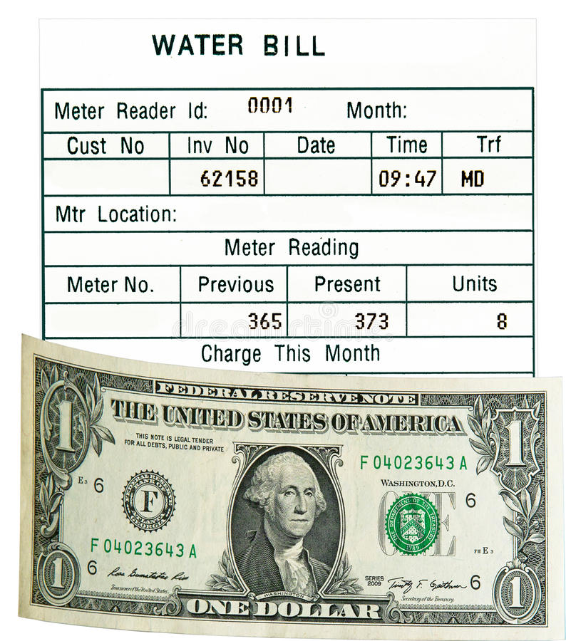 One US dollar & water bill. Isolated. Concept. stock images