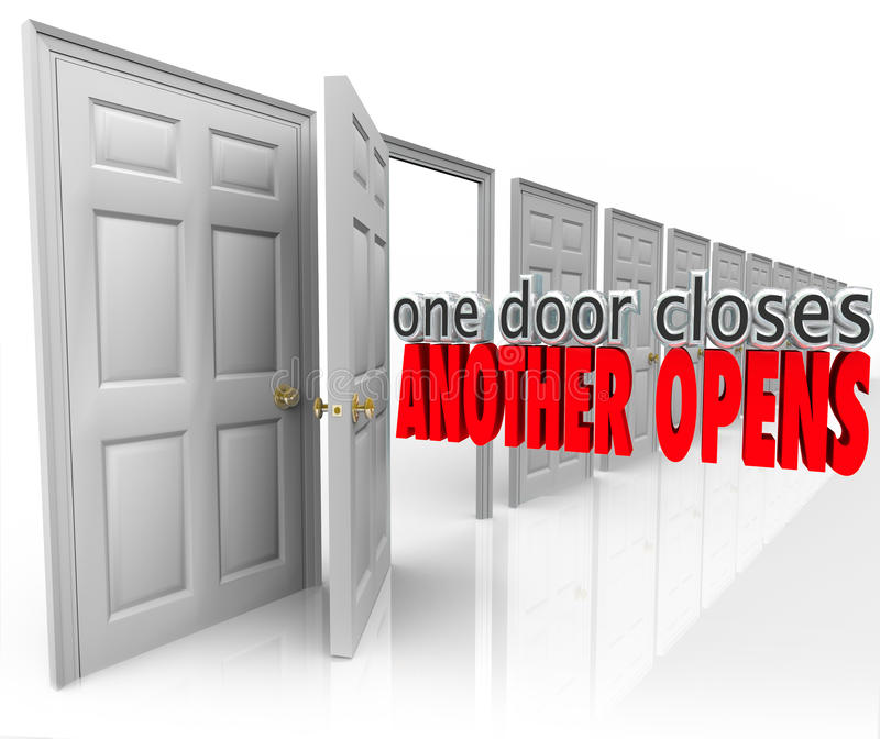 One Door Closes Another Opens New Opportunity Success From Failure royalty free illustration