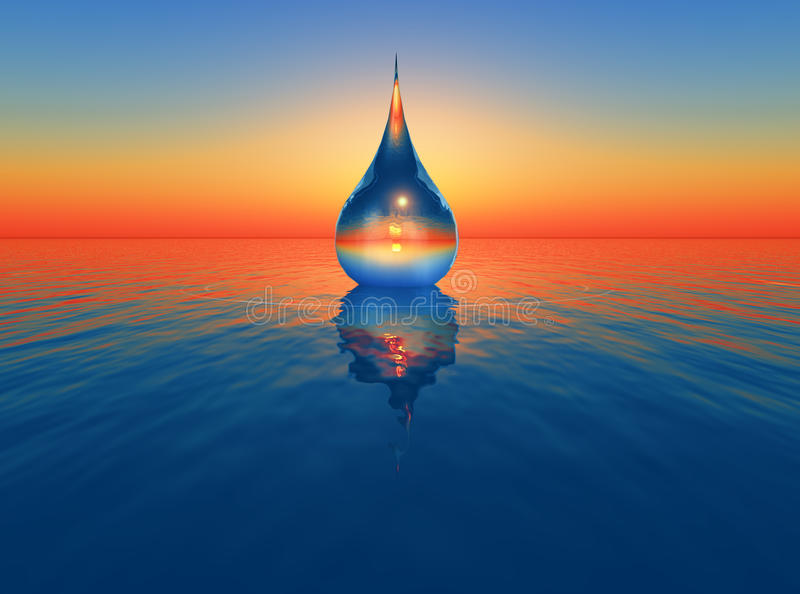 One drop of water. Falling in the sea vector illustration