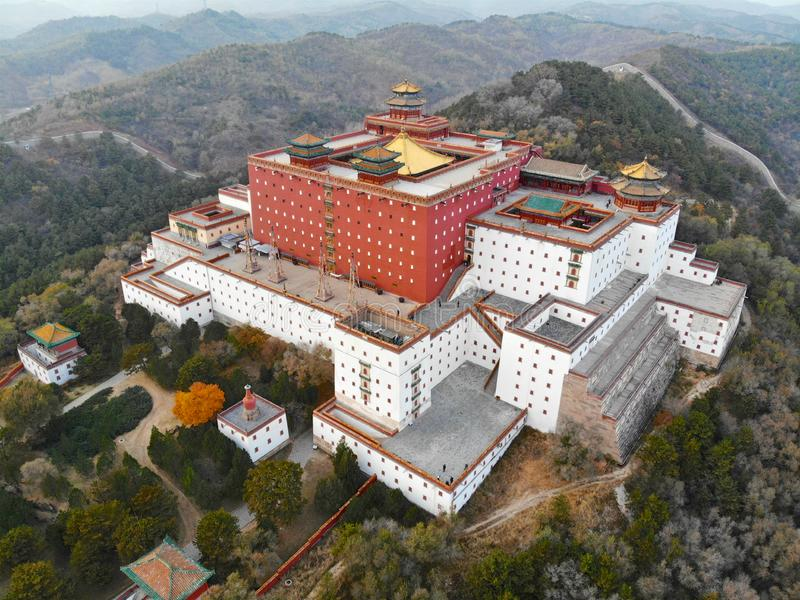 Aerial view of The Putuo Zongcheng Buddhist Temple. One of the Eight Outer Temples of Chengde, built between 1767 and 1771 and modeled after the Potala Palace of stock photography