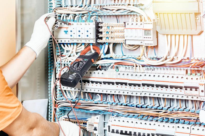 One electrician builder at work royalty free stock photo