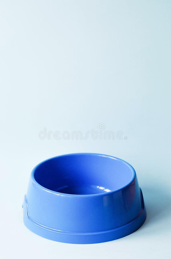 One empty pet blue bowl on an blue background royalty free stock images