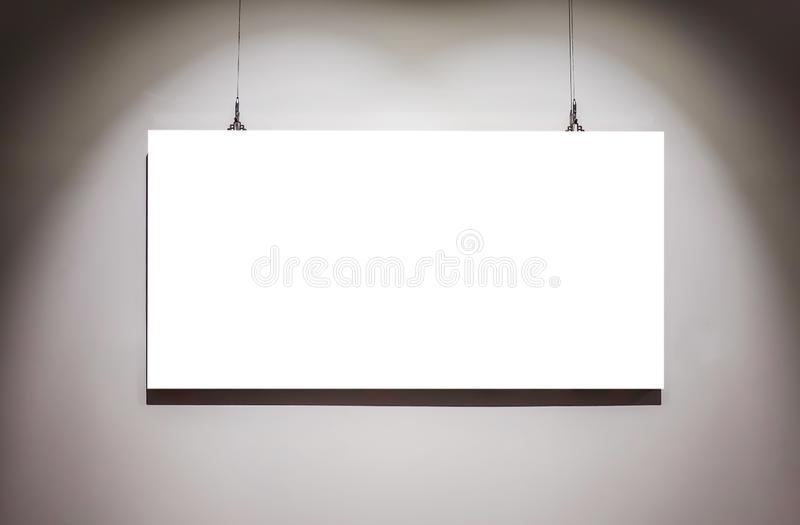 One empty frames on wall in art gallery museum exhibit blank white isolated clipping path royalty free stock image