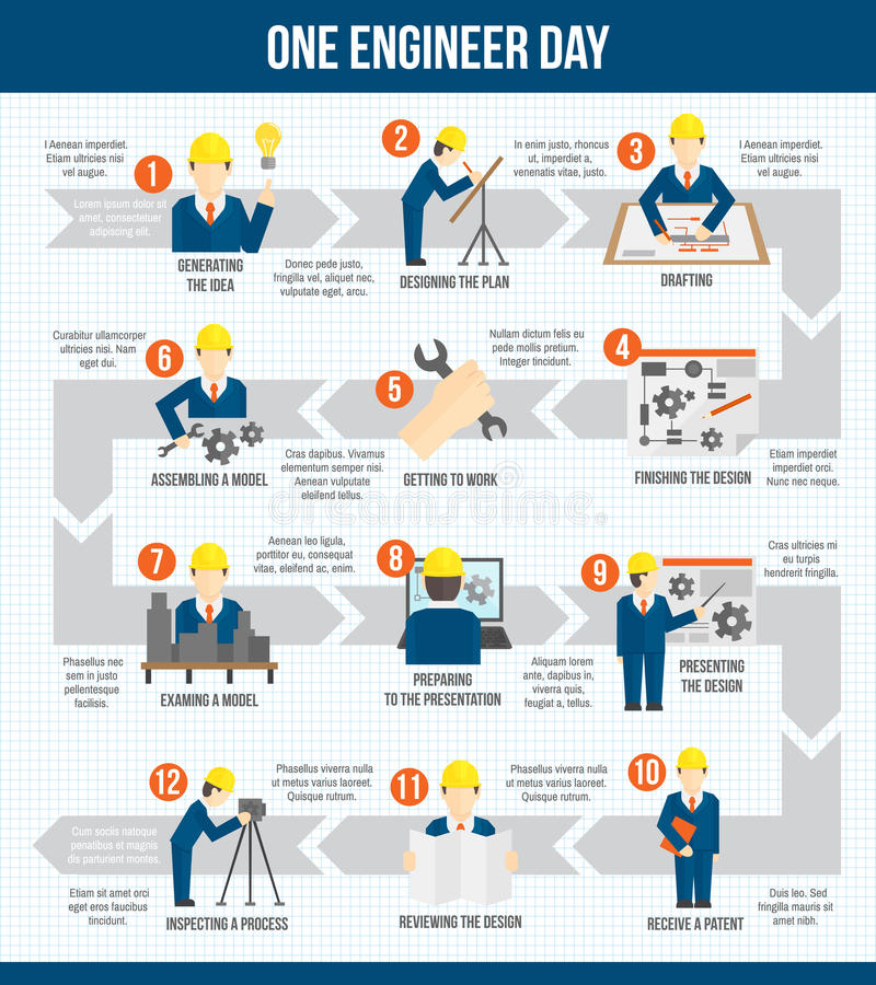 One engineer day infographics stock illustration