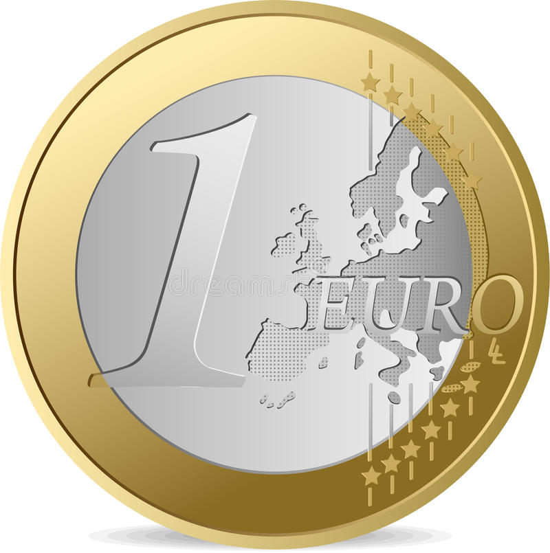 One Euro. All elements and textures are individual objects. Vector illustration scale to any size