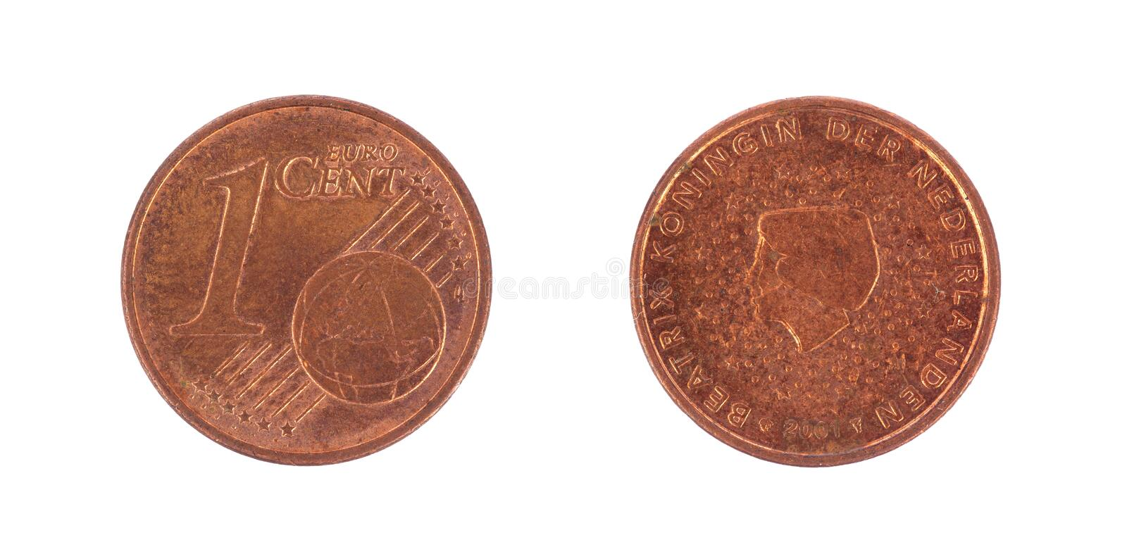One euro cents coin. Isolated on white royalty free stock image