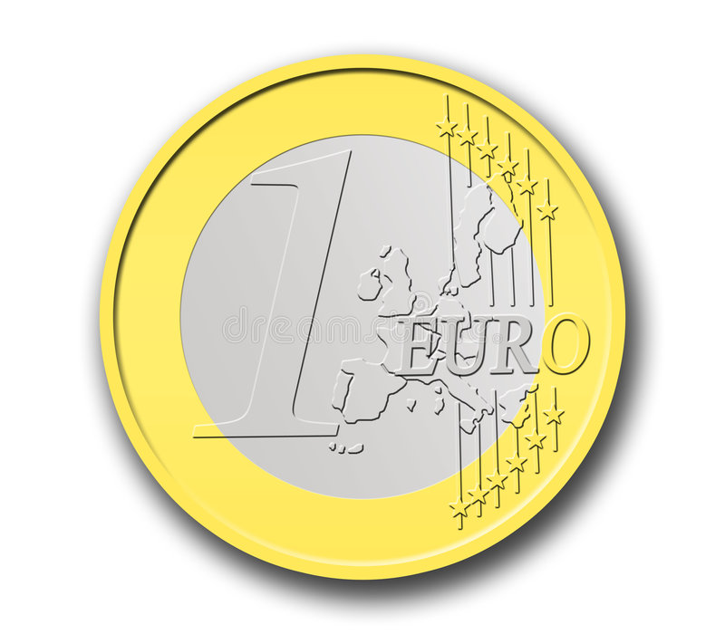 One Euro Coin. In shapes with a white background stock illustration
