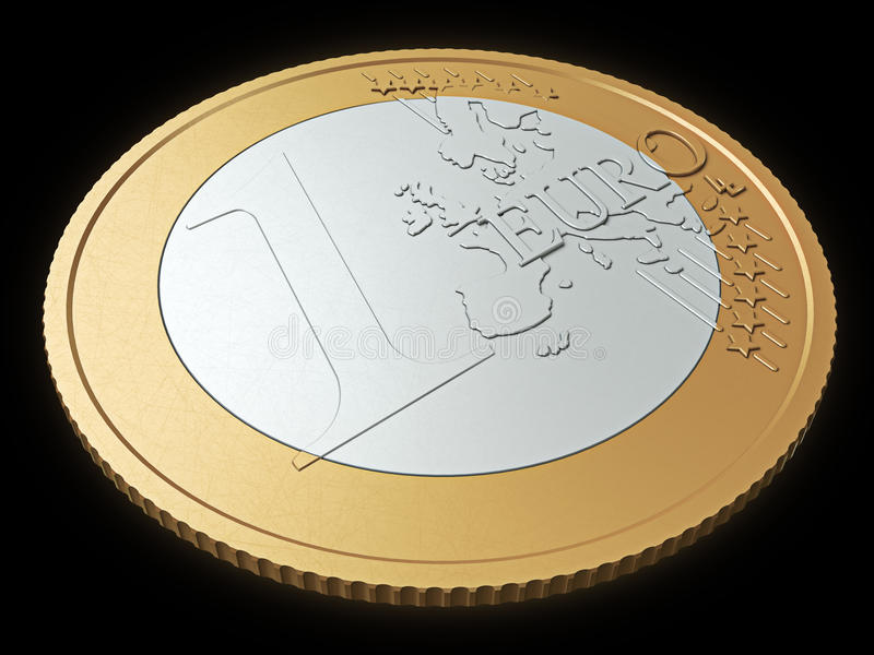 Download One euro coin close-up stock image. Image of golden, rich - 22488657