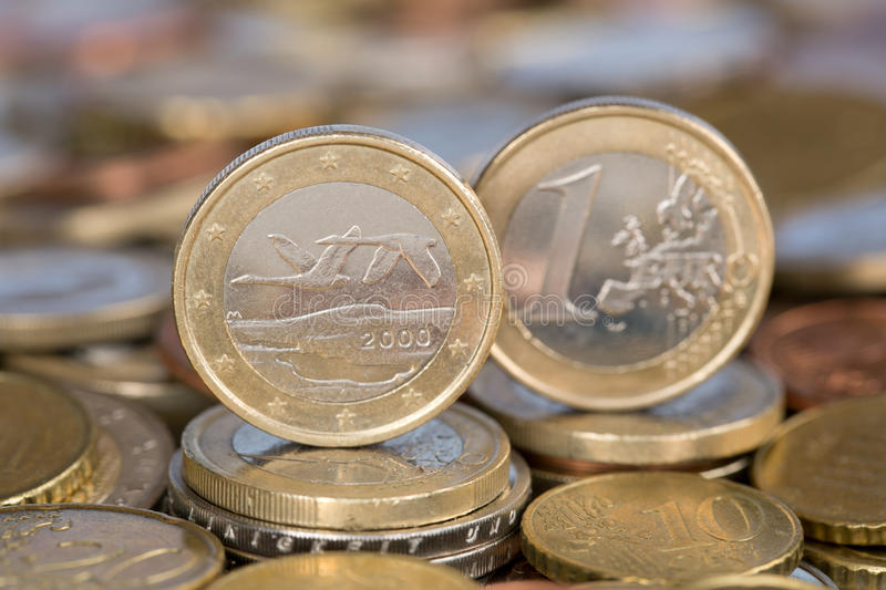 One Euro coin from Finland. A one Euro coin from the EU member country Finland stock photos
