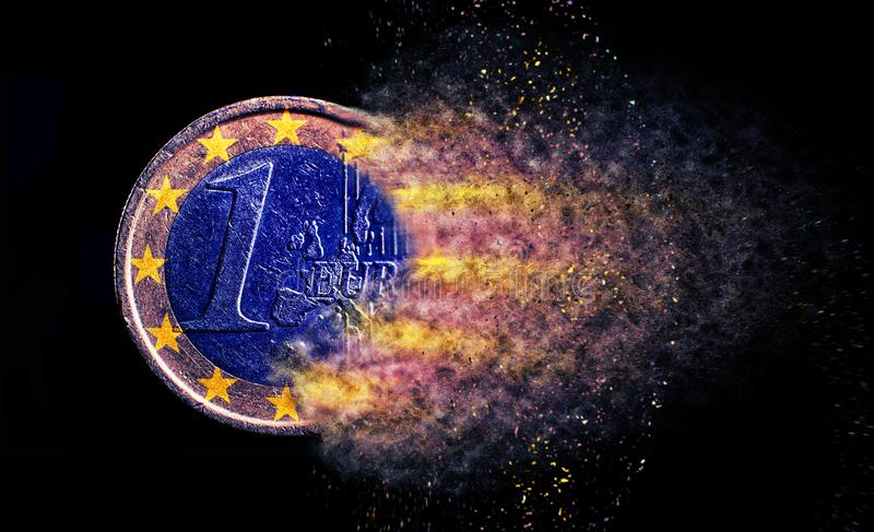 One euro coin explosion isolated royalty free stock photos