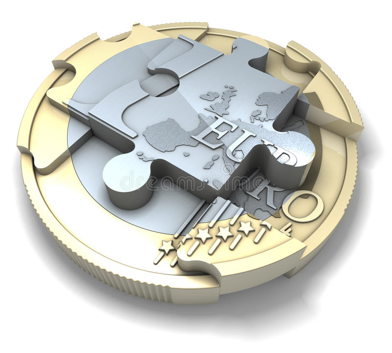 One euro coin segmented, divided into puzzle pieces. 3d rendering on white background stock illustration