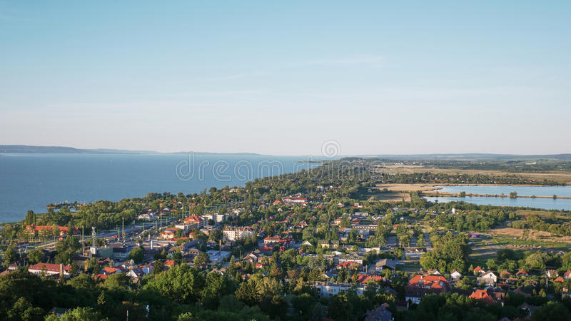 One of Europe`s largest lakes - Balaton. Popular tourist tours from many continental countries. Shallow fast warming lake stock images