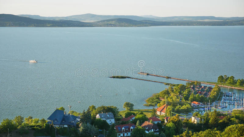 One of Europe`s largest lakes - Balaton. Popular tourist tours from many continental countries. Shallow fast warming lake royalty free stock photos