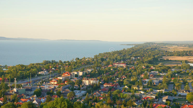 One of Europe`s largest lakes - Balaton. Popular tourist tours from many continental countries. Shallow fast warming lake stock image