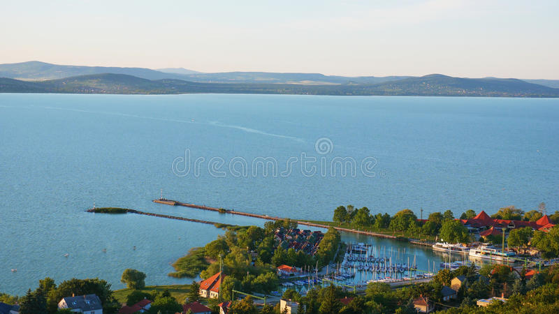 One of Europe`s largest lakes - Balaton. Popular tourist tours from many continental countries. Shallow fast warming lake royalty free stock photo