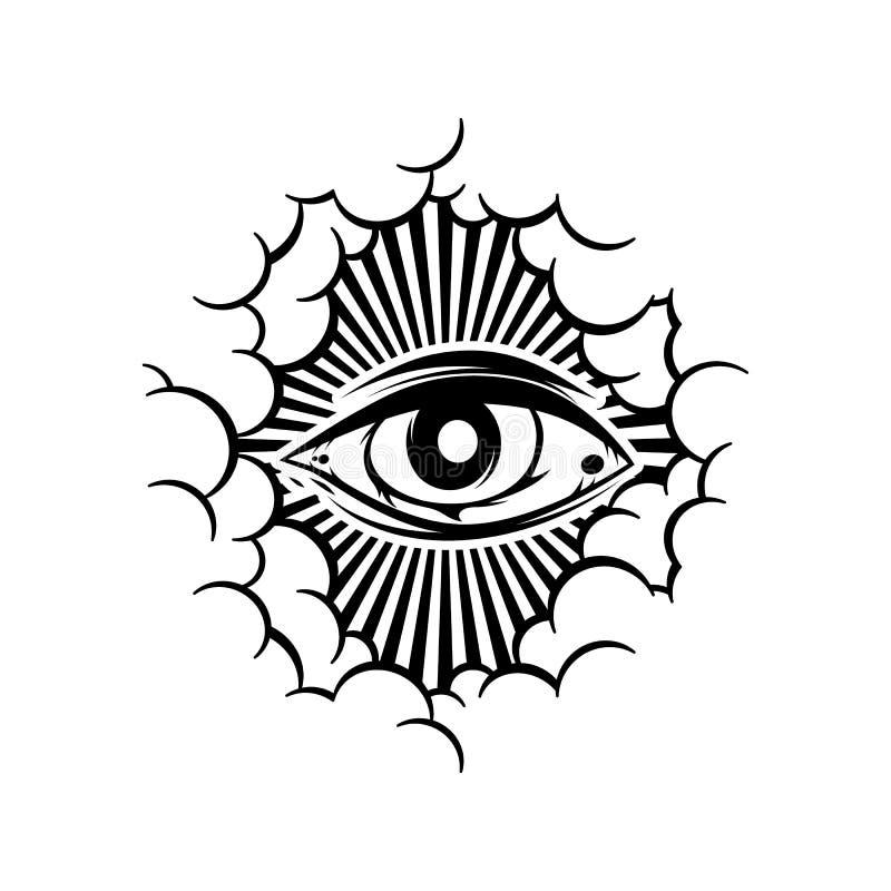 One eye theme sign template. Art stock illustration