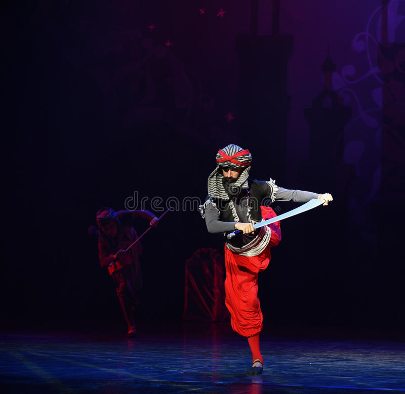 """The one eyed Gigantoraptor- ballet """"One Thousand and One Nights"""". Ballet One Thousand and One Nights is based on the fairy tale with the same name in royalty free stock photo"""