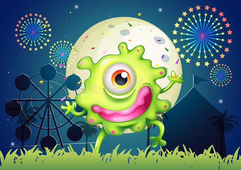 Download A One-eyed Green Monster At The Amusement Park Stock Vector - Illustration of green, graphic: 34133854
