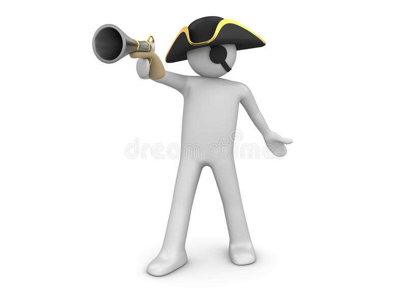 One-eyed pirate - Characters. 3d characters isolated on white background series royalty free illustration