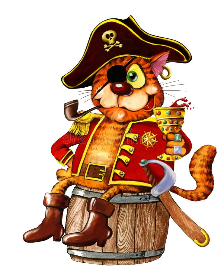 One-eyed red pirate cat royalty free stock photo