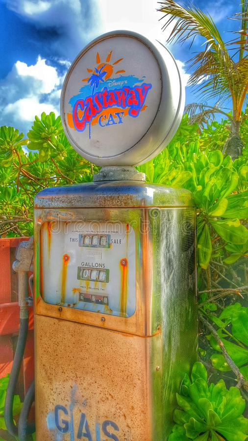 Gas Pump on Castaway Cay. This is one of the few hidden gas pumps on Disney's private island, Castaway Cay, located in the Bahamas stock photography
