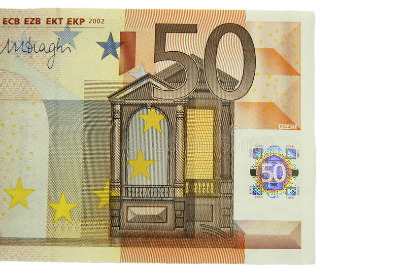 One of fifty euro banknote isolated on the white background stock photography