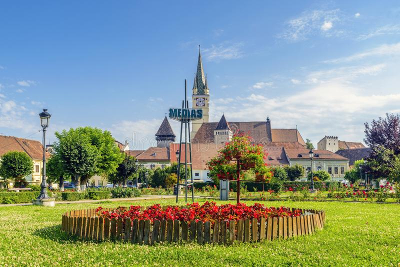 One fine day in Medias, Romania. Medias medieval town in Transylvania, Sibiu country, Romania royalty free stock photos