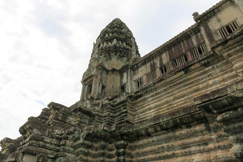 One of the Five Towers of Angkor Wat Temple in Cambodia stock photography