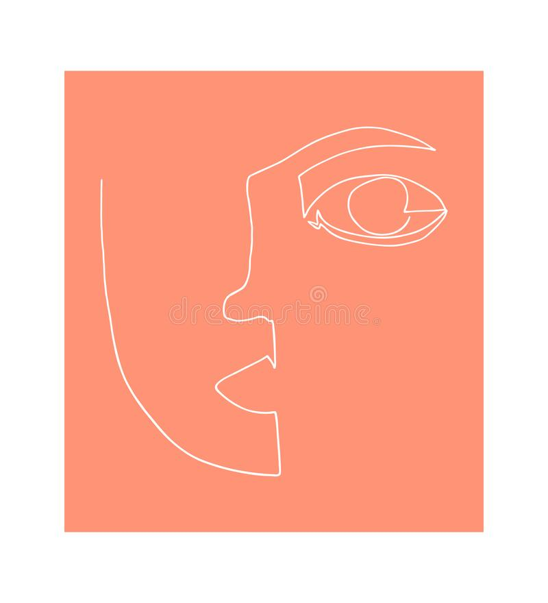 White linear drawing of person. Abstract portrait. Minimalism style royalty free illustration