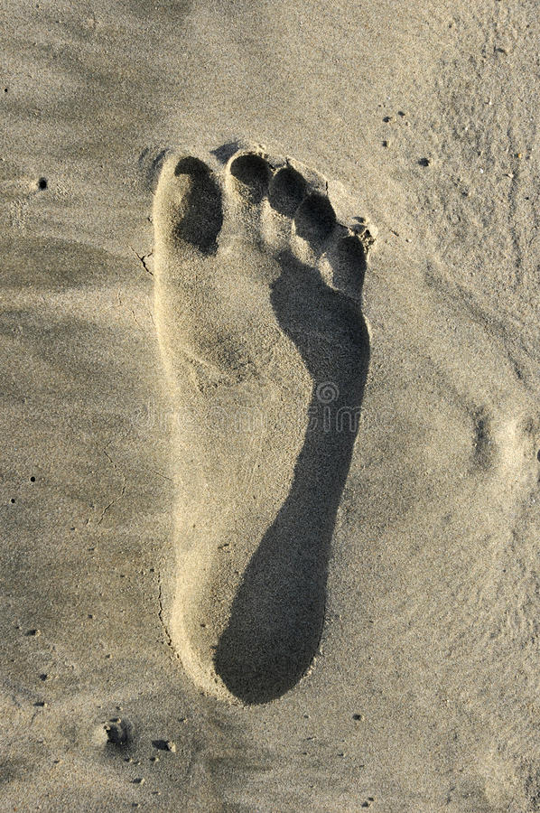 One Footprints. The footprints in the sand stock images
