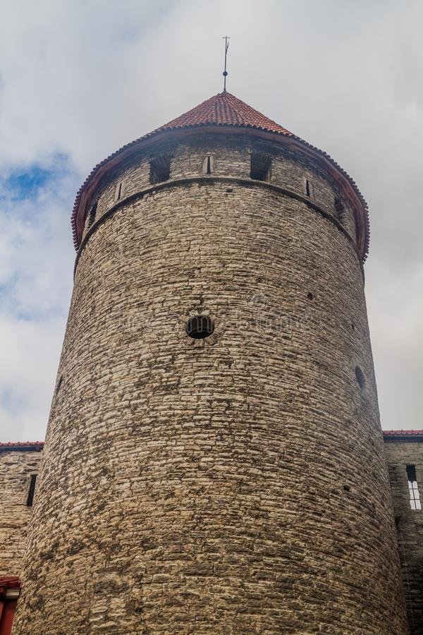 One of fortification towers of the old town in Tallinn, Eston royalty free stock photo