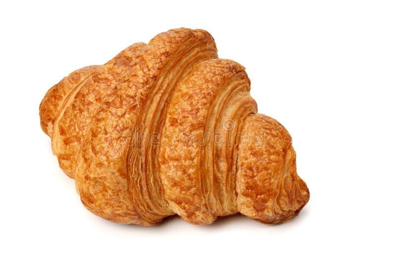 One fresh croissant isolated on white background stock photo