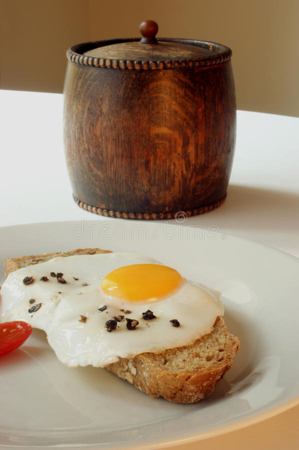 Download One Fried Egg On Wheaten Bread Royalty Free Stock Images - Image: 11332359